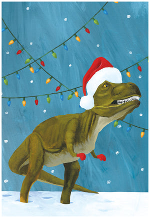 Dinosaur in a santa hat boxed christmas cards