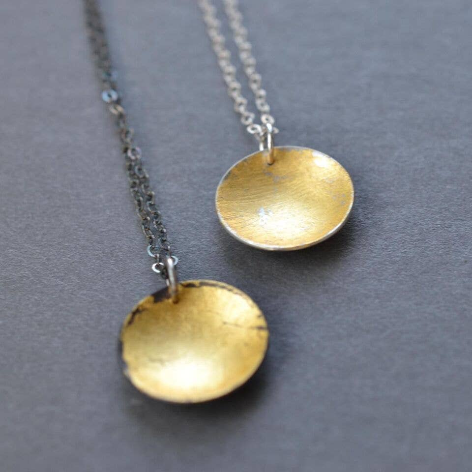 Silver and Gold Disc Necklaces