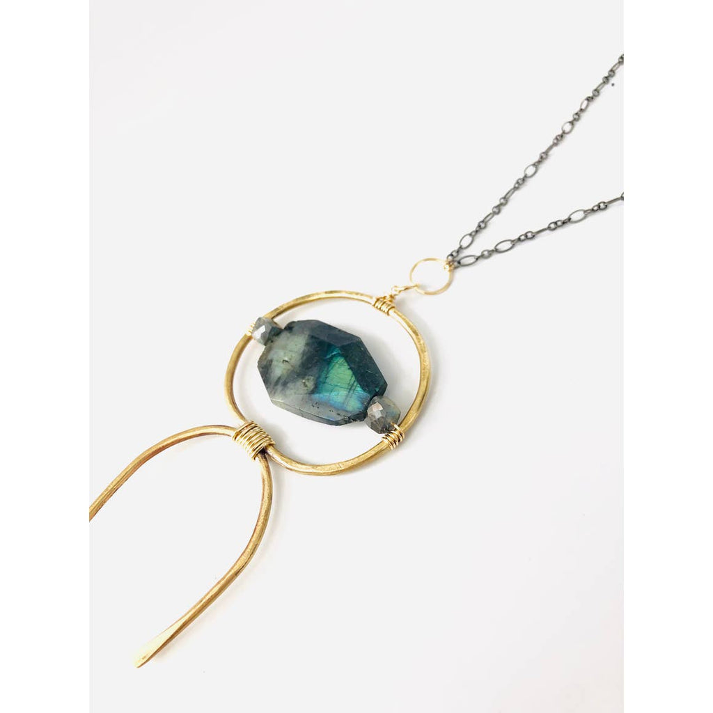 Large Labradorite and Brass Pendant on Gunmetal Chain