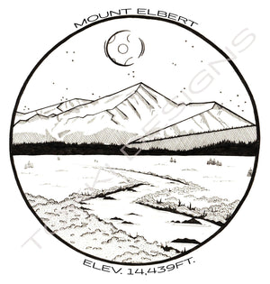 Black and White Line Drawing print of Mount Elbert