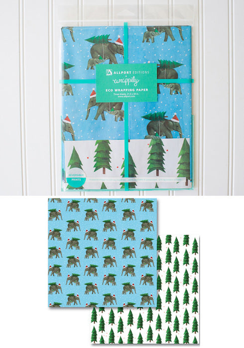 Elephant Tree Holiday Gift Wrap