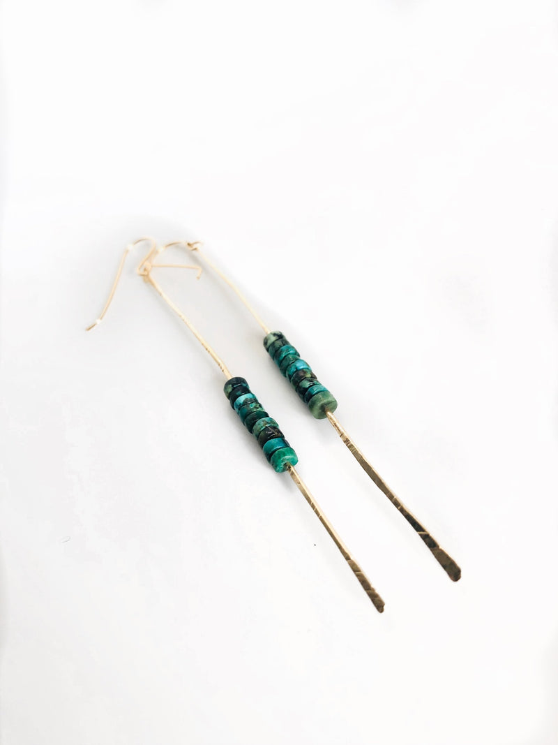 Emma Stick Earrings with a stack of tiny African Turquoise stones