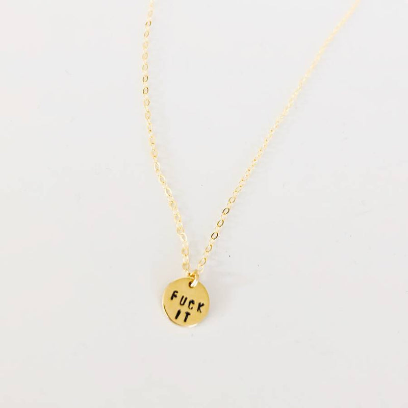 Gold Fuck It Charm Necklace