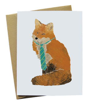 Illustrated Fox in a Neck Tie Greeting Card