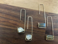 Moonstone and Labradorite Gemstones Wrapped on 14k Gold Fill Box Earrings
