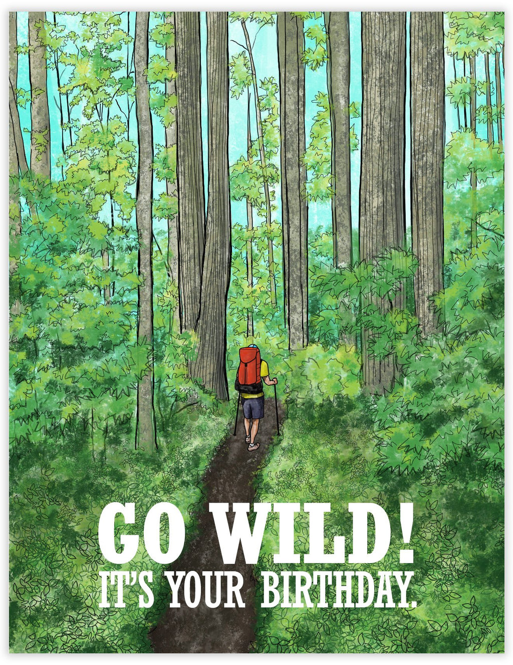 Go Wild Hiking Themed BIrthday Card