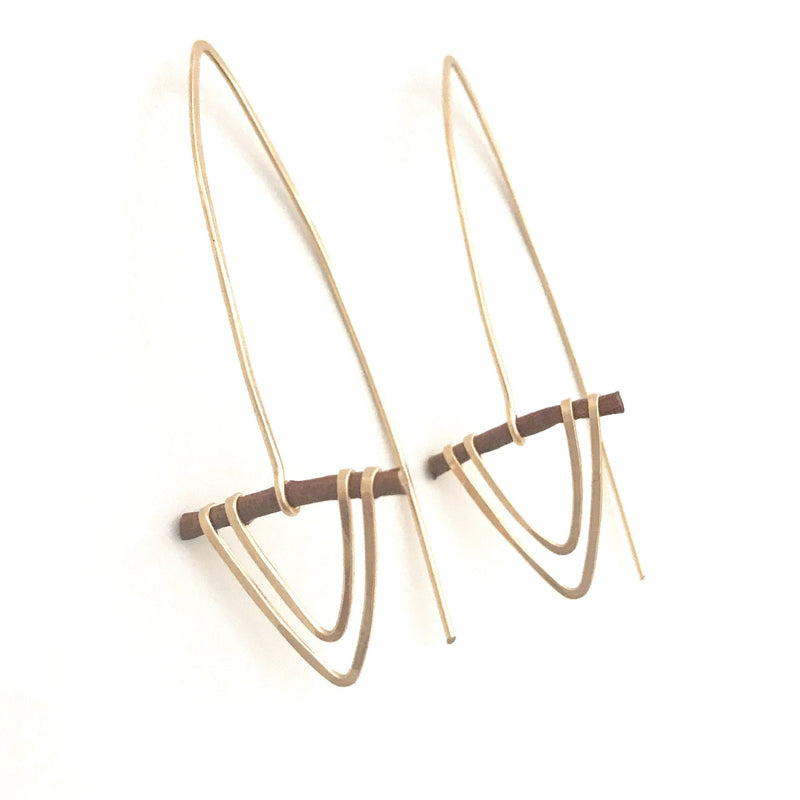 14k Yellow Gold Arrow Earrings