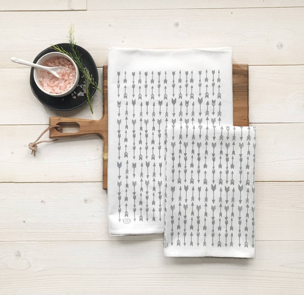 Tea Towel Set with Grey Arrows