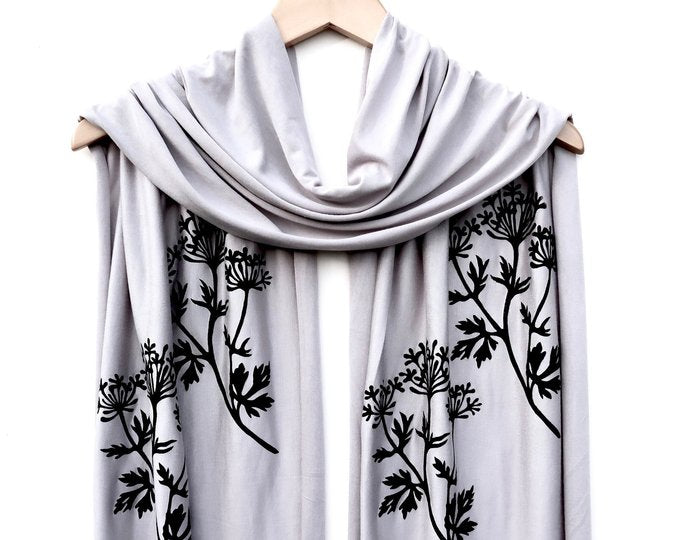 Grey Jersey Scarf with Parsley Print