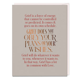Grief Does Not Obey Elizabeth Gilbert Card