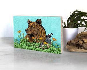 Grizzly Bear and Quail Wooden Wall Art
