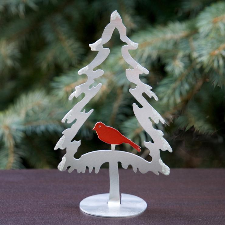 Aluminum Evergreen & Bird Freestanding Sculpture