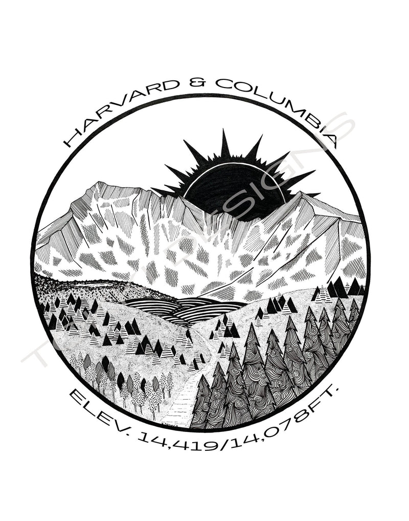 Black and White Print of Harvard and Columbia Peaks