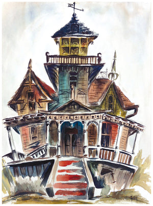 Haunted House Painted Greeting Card