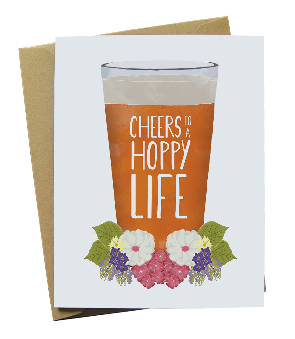 Cheers to a Hoppy Life Beer Wedding Card