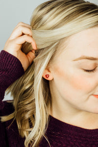 Heart Stud Earrings on Model