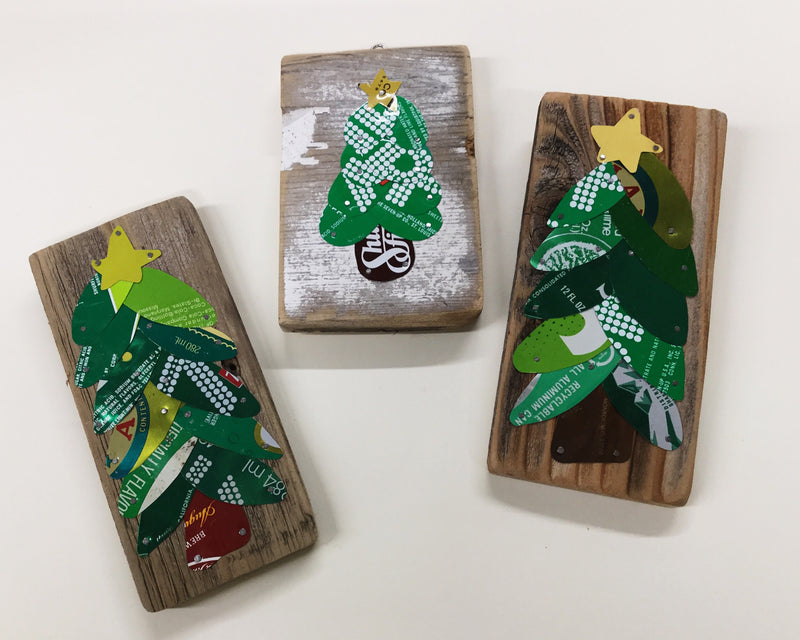 Trio of Little Upcycled Can Christmas Trees