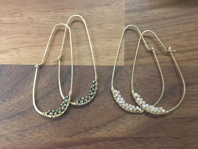 Pear Hoops with Wrapped Gemstones