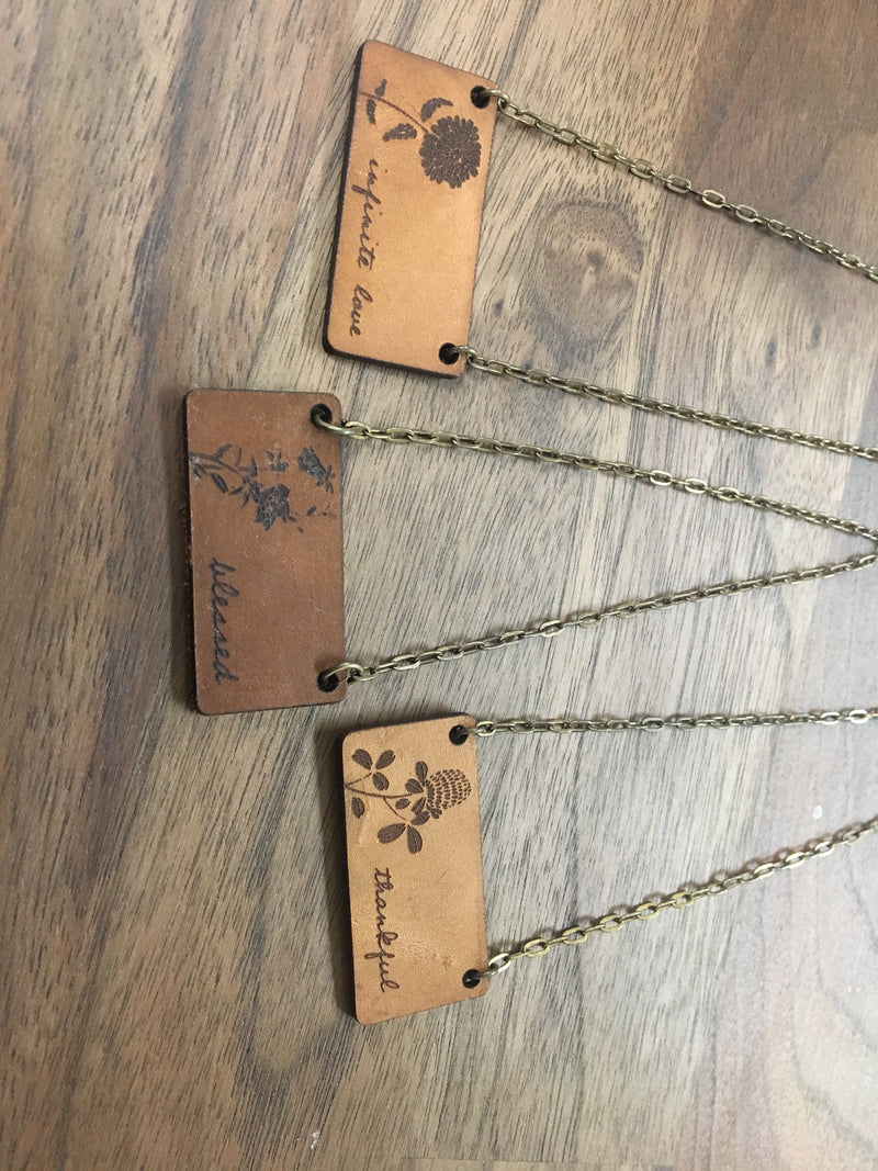 Motherhood Leather Laser Engraved Necklaces