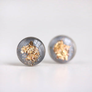 Grey and Gold Leaf Post Earrings