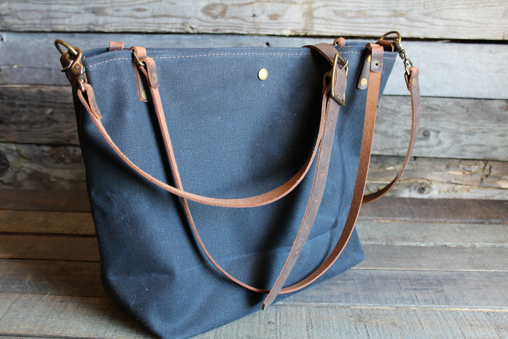 Navy Waxed Canvas Tote