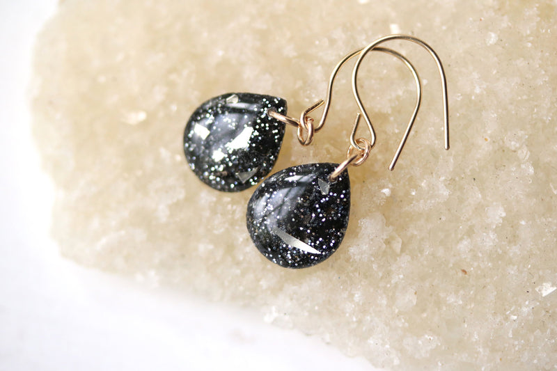 Silver & Charcoal Teardrop Earrings