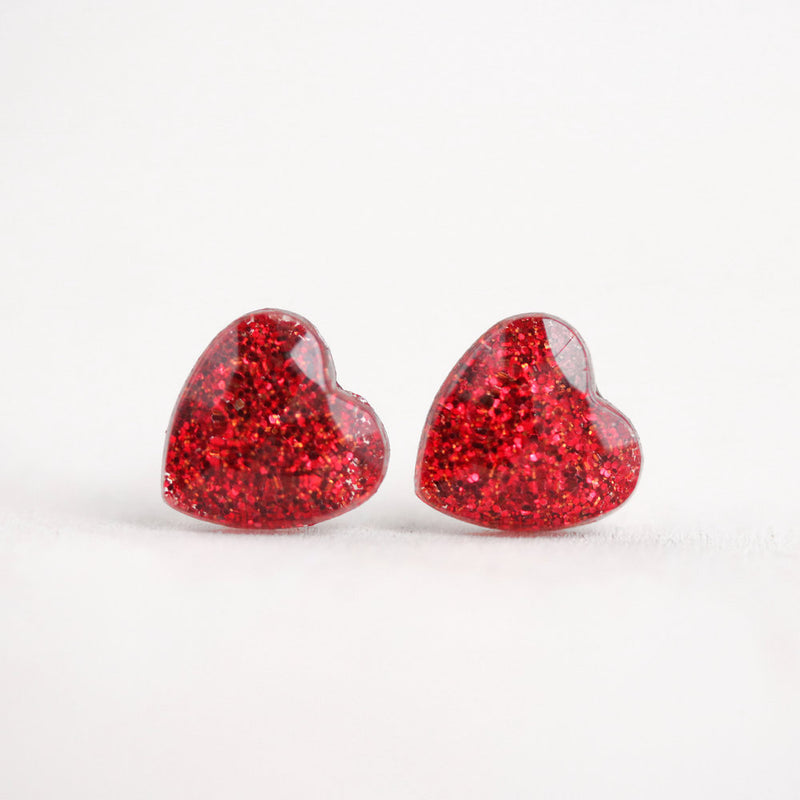 Red Resin Heart Post Earrings