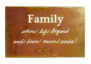 Family Wall Quote on Patina Steel