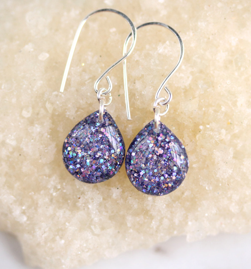 Purple Resin Glitter Teardrop Earrings