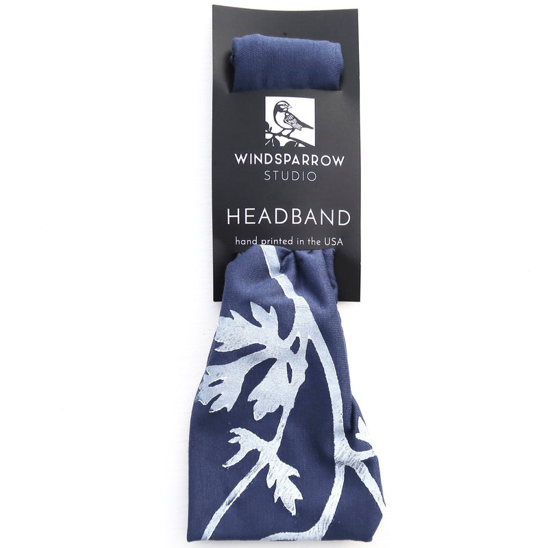 Indigo Headband with Parsley Print