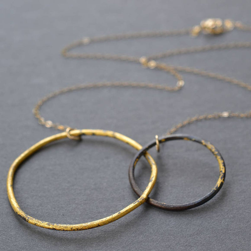 Interlocking Steel and Gold Circles Necklace