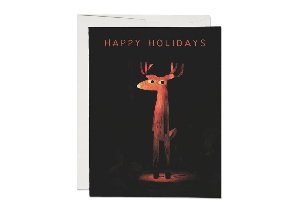 Rudolph in the Dark Happy Holidays Card