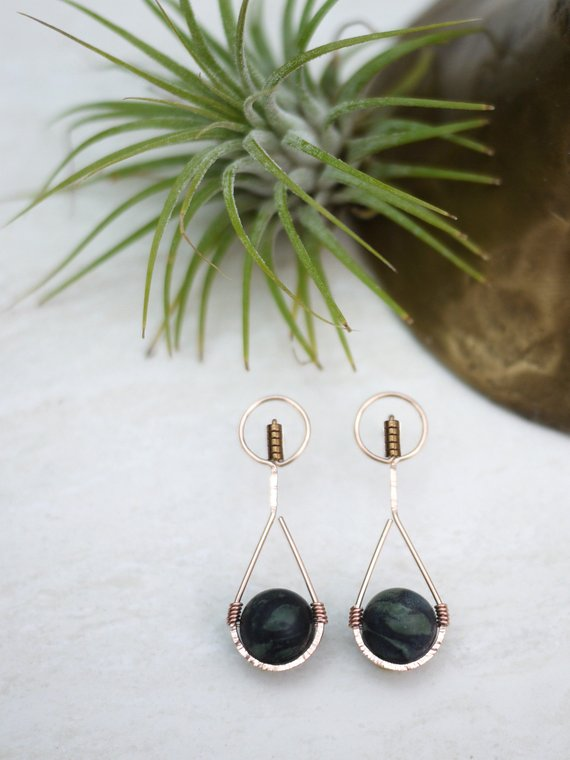 Jasper & Rose Gold Art Deco Tear Drop Earrings
