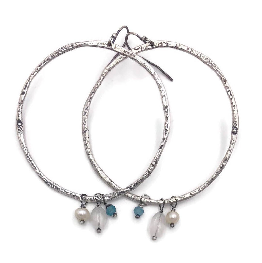 Large Gemstone Loop Hoop Earrings
