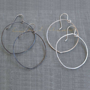 Large Silver Hoops in Bright and Oxidized Finishes