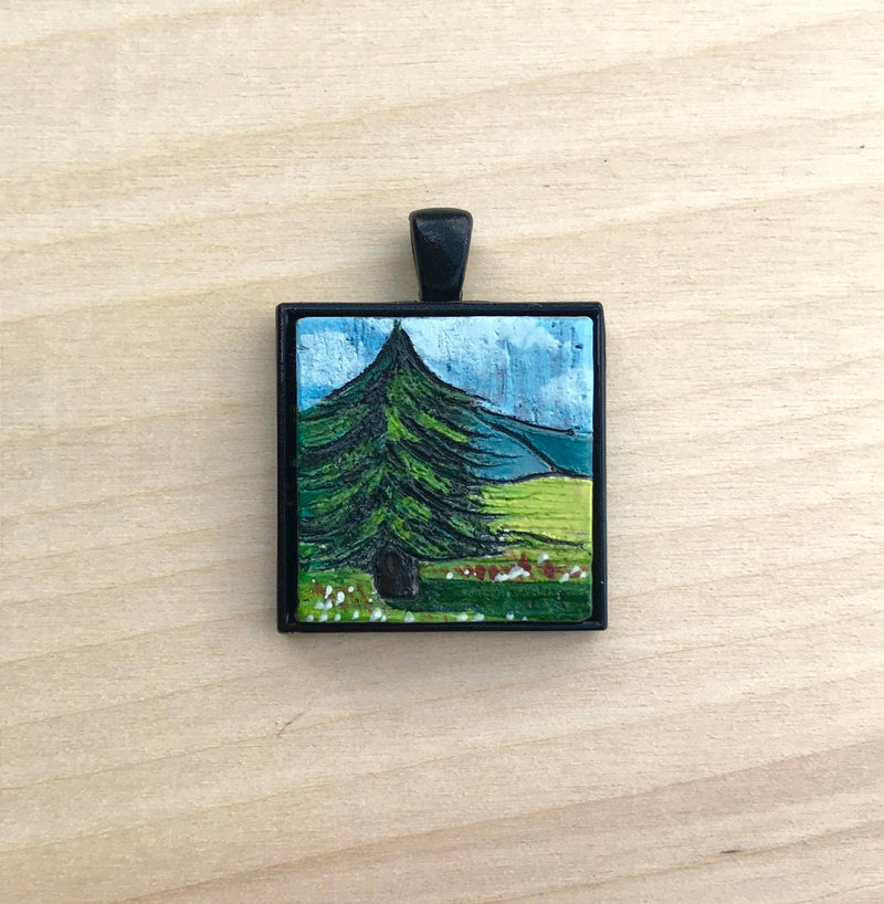 Square Pine Trees Ceramic Pendant