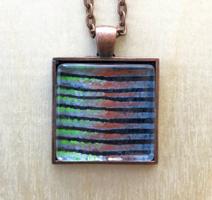 Square Glass Horizontal Stripes Pendant