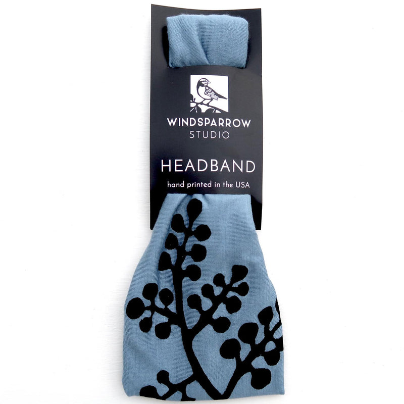 Light Blue Headbands with Black Ink