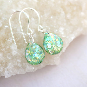 Mermaid Glitter Teardrop Earrings