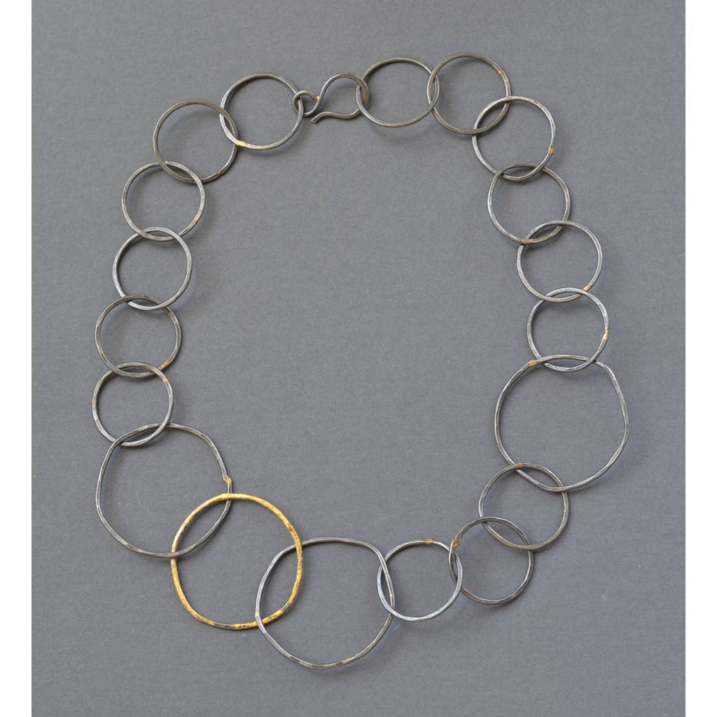Steel and Gold Link Chain Necklace