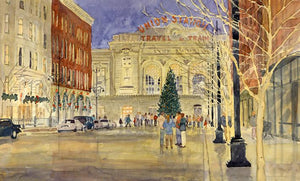 Denver's Union Station Tree Lighting Painted Card