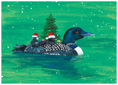Loon Family Boxed Christmas Cards