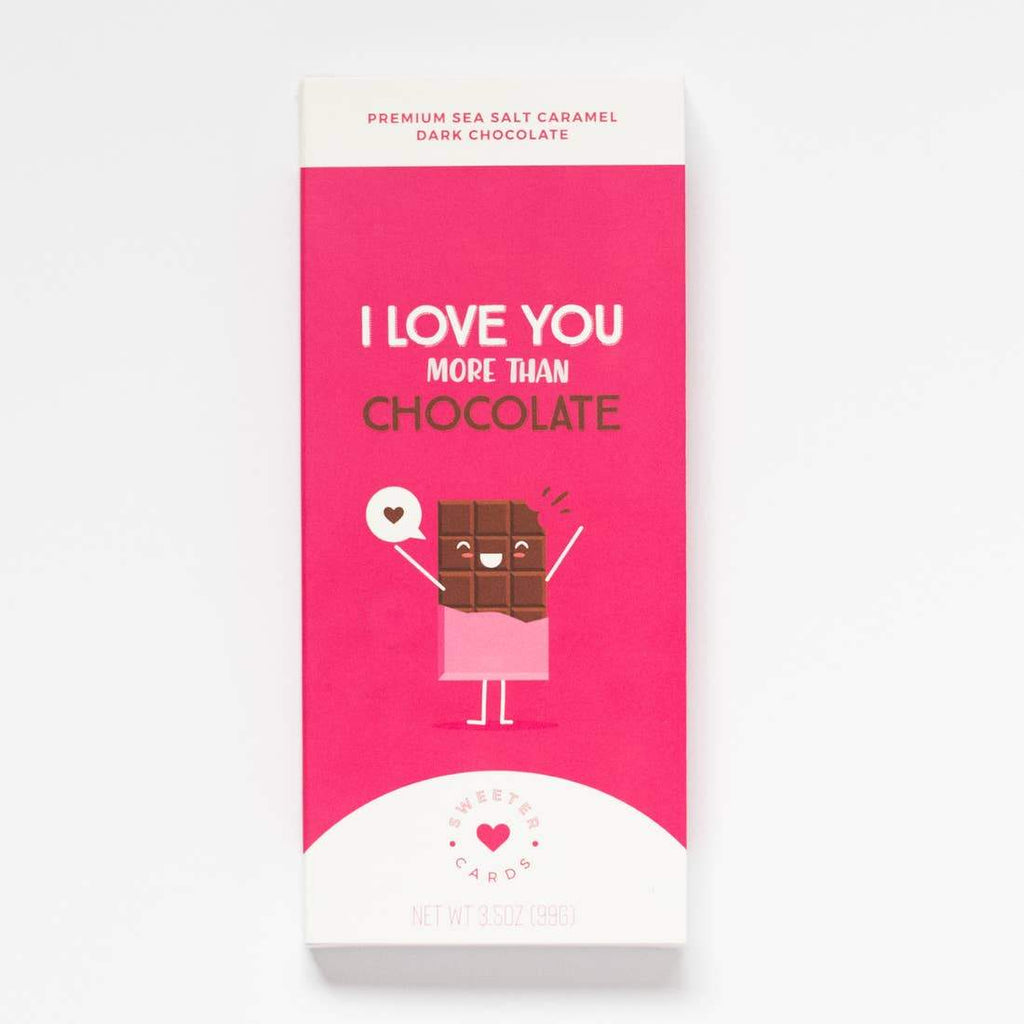 I Love you More Than Chocolate Card and Chocolate Bar In 1