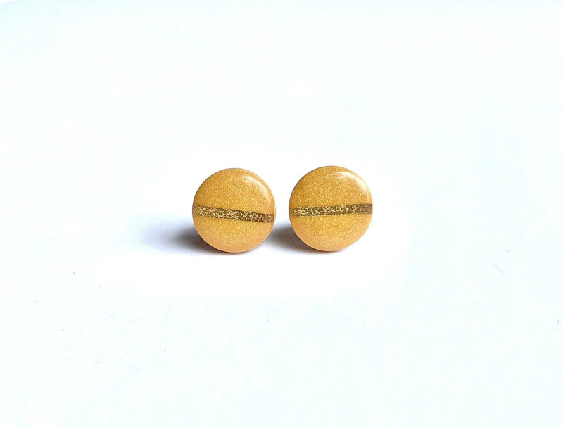 Marigold and Gold Striped Resin Circle Stud Earrings