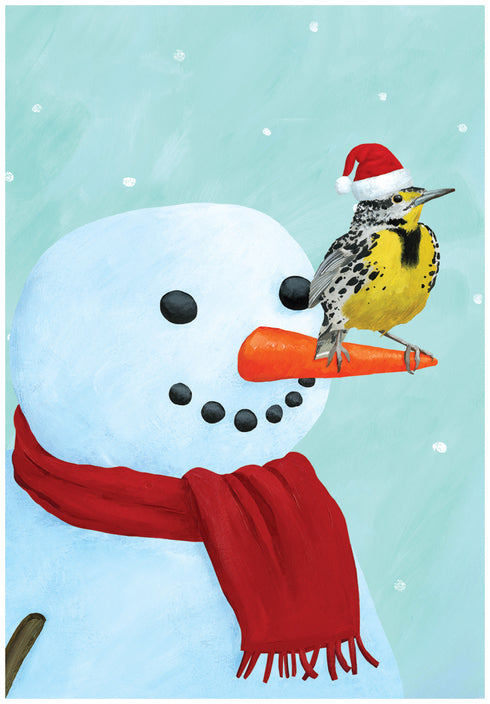 Meadowlark and Snowman Boxed Holiday Cards