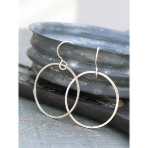 Medium Silver Hammered Hoops