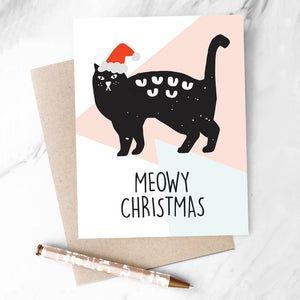 Meowy Christmas Card with a Cat in a Santa hat