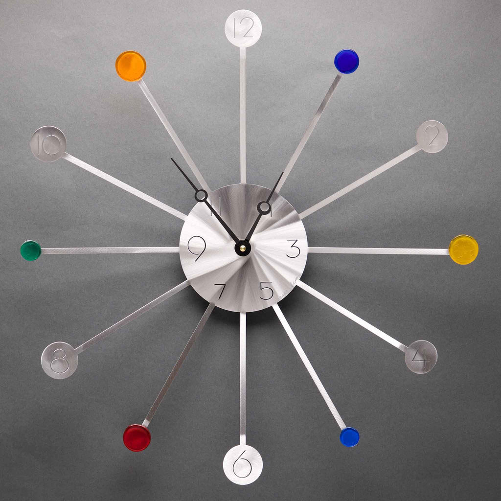 Starburst Brushed Aluminum Wall Clock by Sondra Gerber