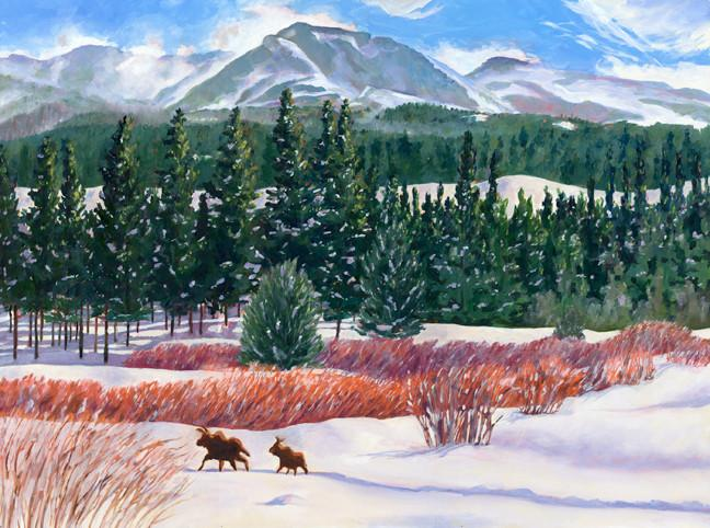 Moose in the valley greeting card with Barbara Froula painting