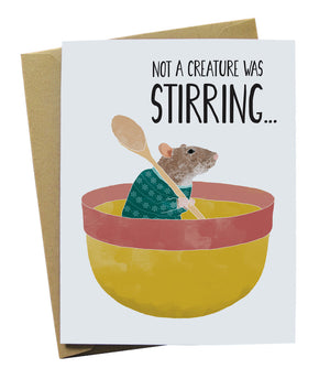 Not a creaure was stirring illustrated mouse card